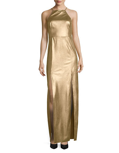H Halston Long Metallic Cocktail Dress-GOLD-4
