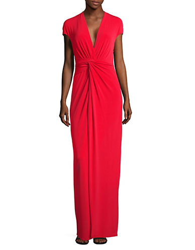 H Halston Twist Front Gown-RED-Small