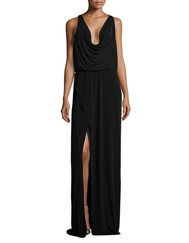 H Halston Cowl Neck Column Gown-BLACK-X-Small