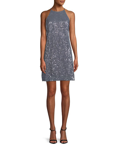 H Halston Sequin Shift Dress-GREY-12