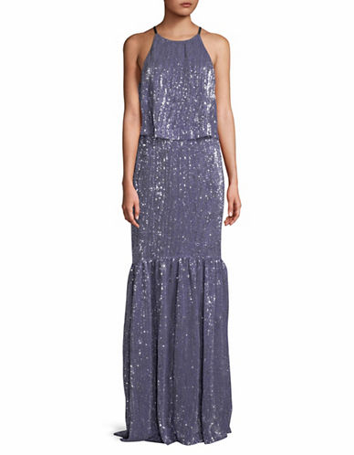 H Halston Sequined Sleeveless Gown-SILVER-4