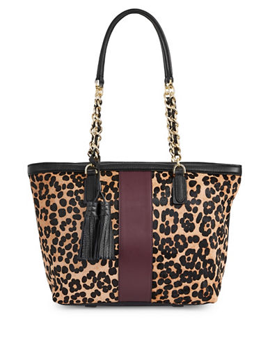 Imnyc Isaac Mizrahi Chained Large Leather Tote-LEOPARD-One Size