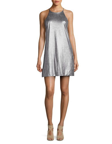 H Halston Short Metallic Cocktail Dress-SILVER-4