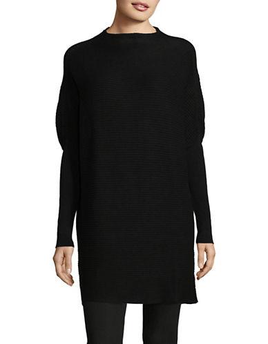 H Halston Ribbed Mock Neck Tunic-BLACK-Large
