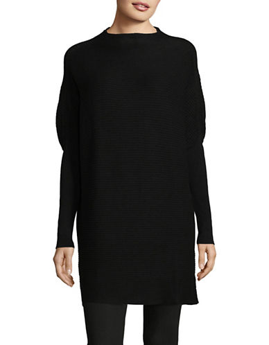 H Halston Ribbed Mock Neck Tunic-BLACK-Medium