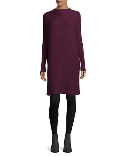 H Halston Ribbed Mock Neck Tunic-PURPLE-X-Small