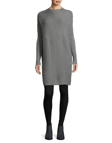 H Halston Ribbed Mock Neck Tunic-GREY-Medium