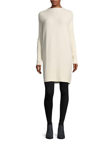 H Halston Ribbed Mock Neck Tunic-WHITE-X-Small