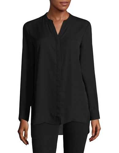H Halston Split Neck Hi-Lo Blouse-BLACK-Small