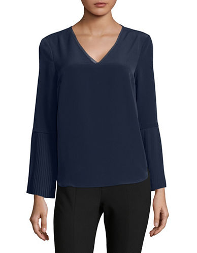 H Halston Pleat Sleeve V-Neck Blouse-BLUE-Small
