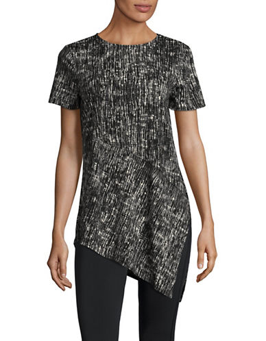 H Halston Short Sleeve Asymmetric Seam Top-BLACK-Small