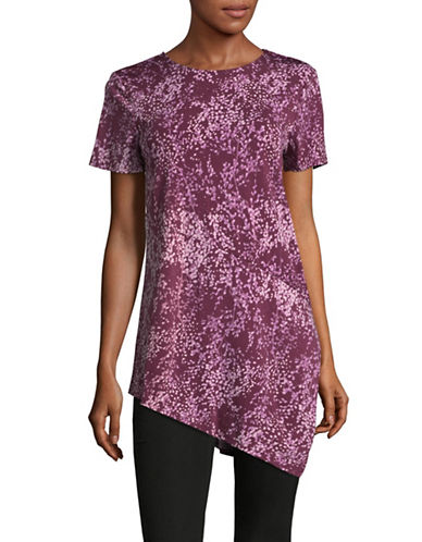 H Halston Floral-Print Asymmetrical Blouse-PURPLE-X-Small