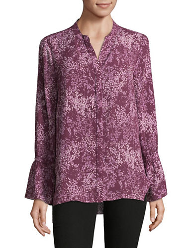 H Halston Floral-Print Bell Sleeve Blouse-PURPLE-Medium