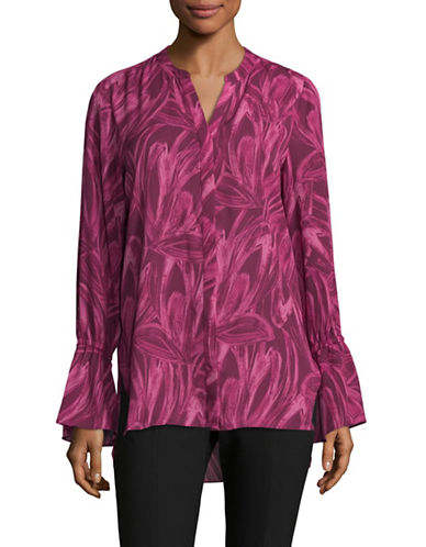 H Halston Floral-Print Bell Sleeve Blouse-PINK-X-Small