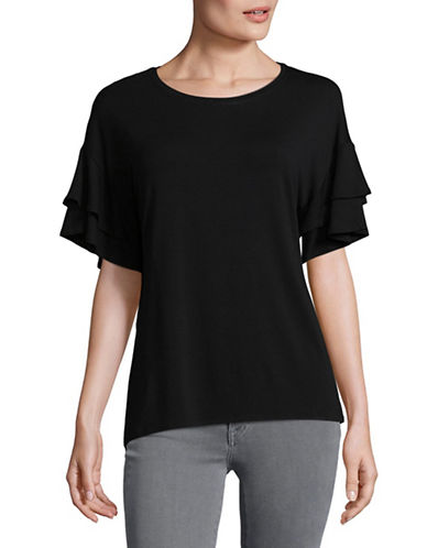 H Halston Layered Flutter Sleeve Blouse-BLACK-Medium