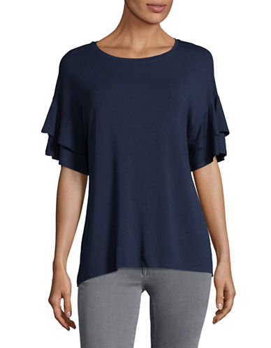 H Halston Layered Flutter Sleeve Blouse-BLUE-X-Large
