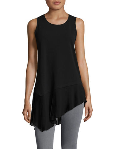 H Halston Mixed Media Pleated Hem Tank Top-BLACK-Small