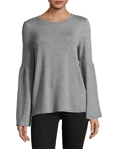 H Halston Bell Sleeve Top-BLUE-Large