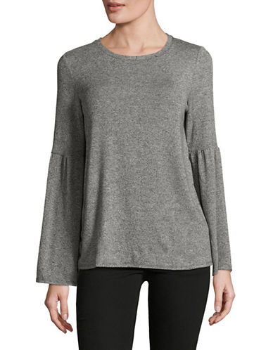 H Halston Bell Sleeve Top-GREY-Medium