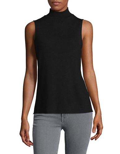H Halston Mock Neck Tank Top-BLACK-Large