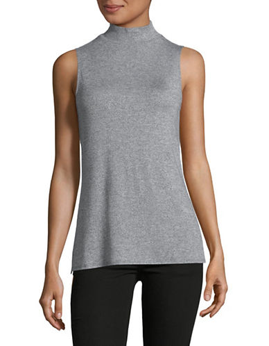 H Halston Mock Neck Tank Top-GREY-Small