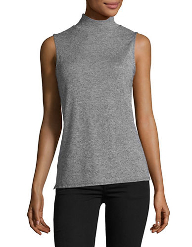 H Halston Mock Neck Tank Top-GREY-Large