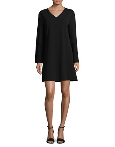 H Halston Pleat Sleeve Shift Dress-BLACK-Large
