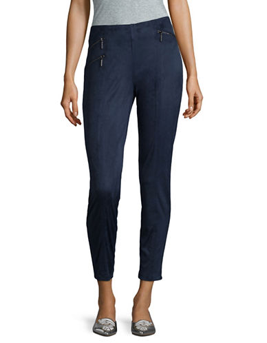 H Halston Moto Skinny Pants-BLUE-Large