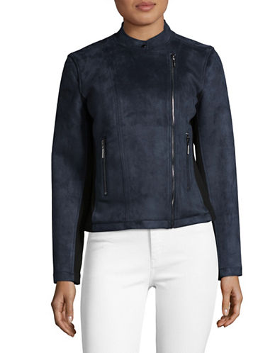 H Halston Shearling Wool-Cashmere Moto Jacket-BLUE-Small
