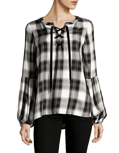 Highline Collective Plaid Lace Up Blouse-GREY SHADOW-Small