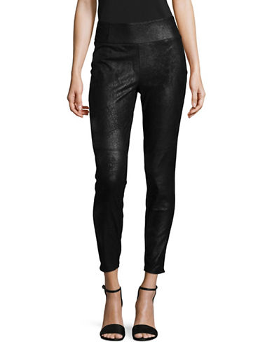 Highline Collective Faux Leather Wide Web Capri Leggings-BLACK-Medium
