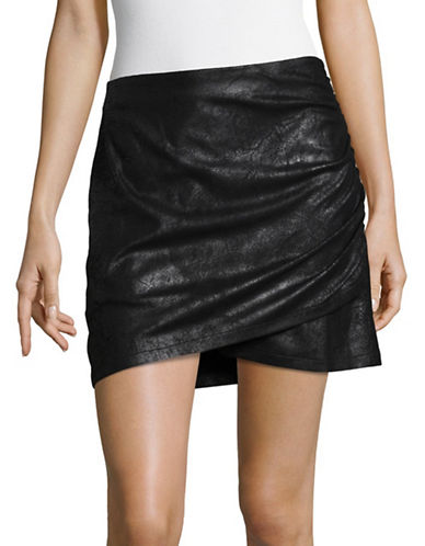 Highline Collective Asymmetrical Shirring Mini Skirt-BLACK-X-Large