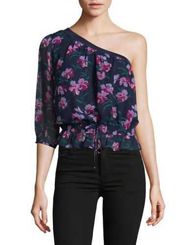 Highline Collective One-Shoulder Blouse-BLUE MULTI-Small