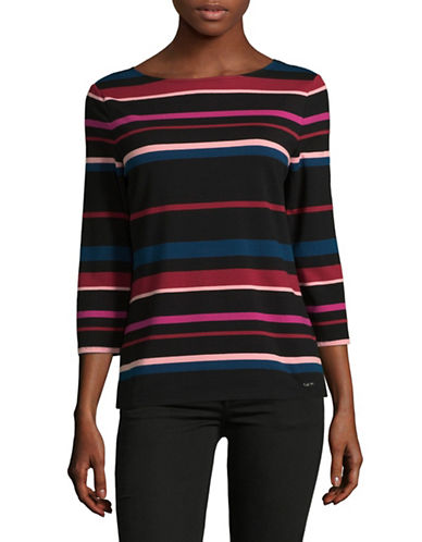 Imnyc Isaac Mizrahi Striped Boat neck Top-MULTI-Medium