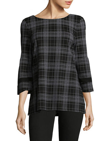 Imnyc Isaac Mizrahi Grid Peplum Tunic-GREY-Medium
