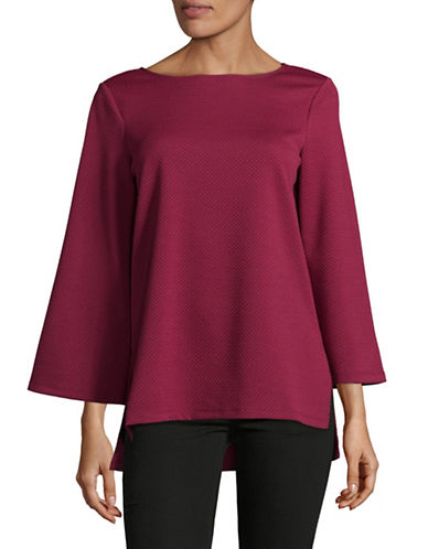 Imnyc Isaac Mizrahi Boat neck Tunic Top-RED-X-Small