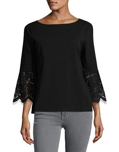 Imnyc Isaac Mizrahi Floral Lace Boat neck Top-BLACK-X-Small