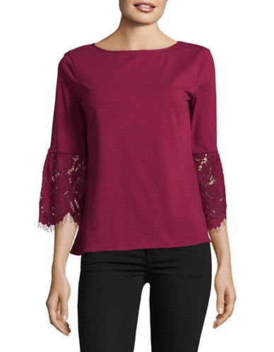 Imnyc Isaac Mizrahi Floral Lace Boat neck Top-RED-Medium
