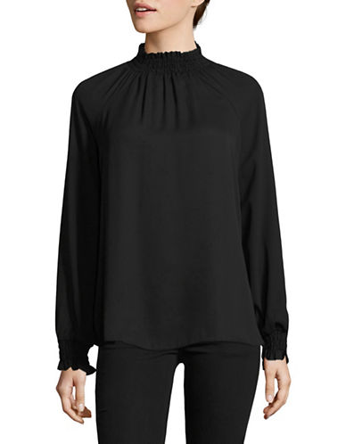 Imnyc Isaac Mizrahi Smocked High neck Blouse-BLACK-X-Small