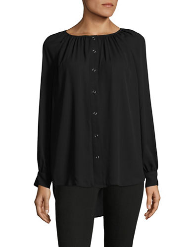 Imnyc Isaac Mizrahi Button-Up Blouse-BLACK-Large