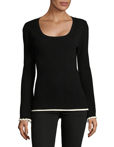 Imnyc Isaac Mizrahi Contrast Bell-Sleeve Top-BLACK-Medium
