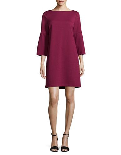 Imnyc Isaac Mizrahi Boat Neck Peplum Shift Dress-RED-X-Small