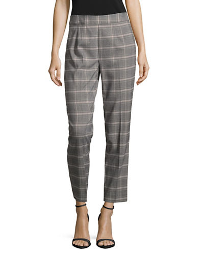 Imnyc Isaac Mizrahi Plaid Ankle Trousers-GREY/PINK-10
