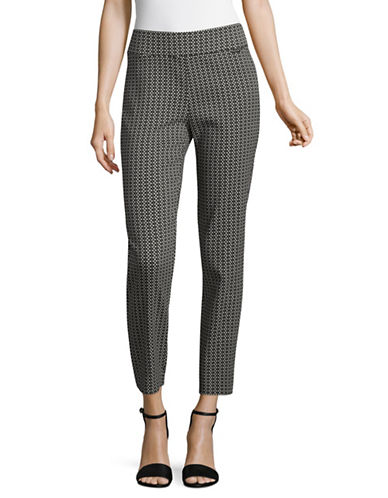 Imnyc Isaac Mizrahi Ankle Length Pull-On Pants-BLACK MULTI-Small