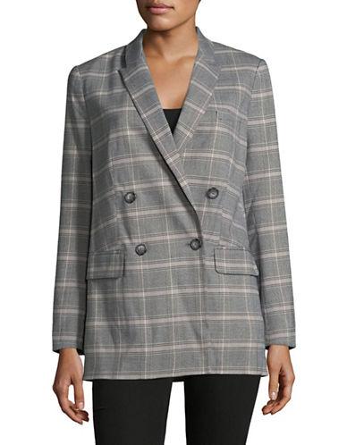 Imnyc Isaac Mizrahi Peak Collar Boxy Long Blazer-GREY/PINK-2