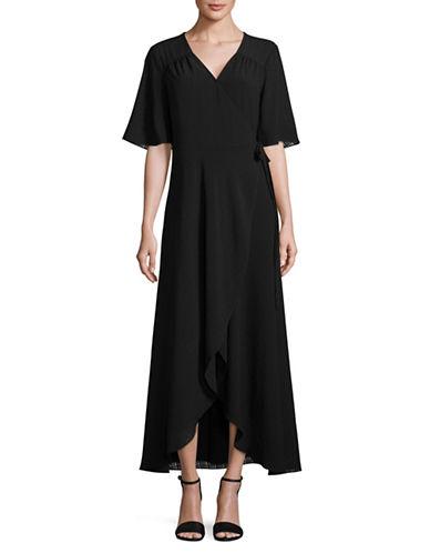 Imnyc Isaac Mizrahi Flutter Sleeve Maxi Dress-BLACK-Large