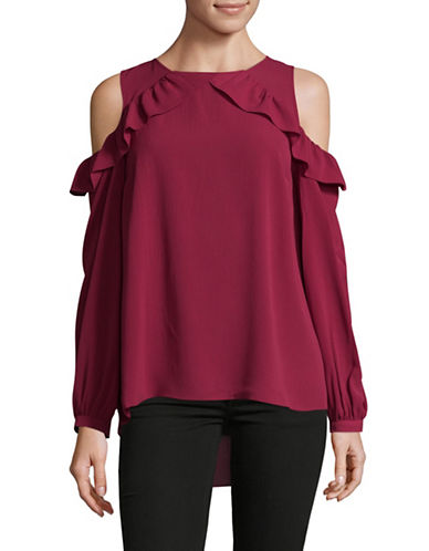 Imnyc Isaac Mizrahi Cold-Shoulder Top-RED-X-Small