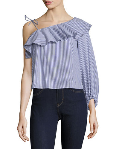 Highline Collective One-Shoulder Flounce Top-BLUE/WHITE STRIPE-X-Large