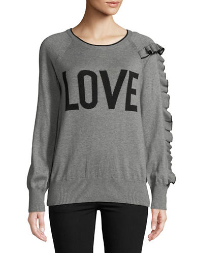 Highline Collective Ruffle Sleeve Intarsia Sweater-CHARCOAL-X-Small