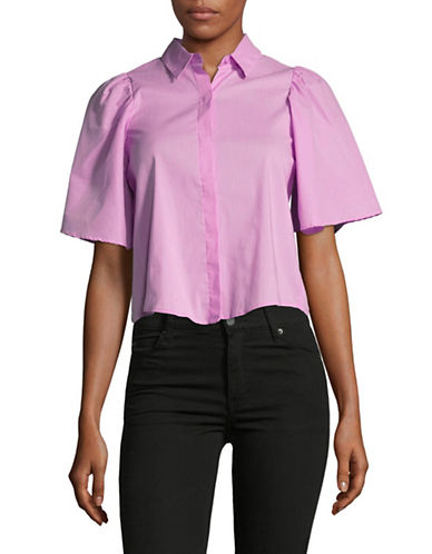 Highline Collective Open Back Button-Down Shirt-PINK MINISTRIPE-X-Small